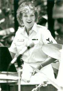 Playing the cello pans with the Navy Steel Band in Summer 1983. (Photo taken by Navy journalist, name unknown)